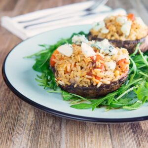 These easy stuffed mushrooms are a great way to use up leftover rice and create a fantastic meal from store cupboard ingredients, these feature roasted red peppers, sun dried tomatoes and Roquefort cheese.