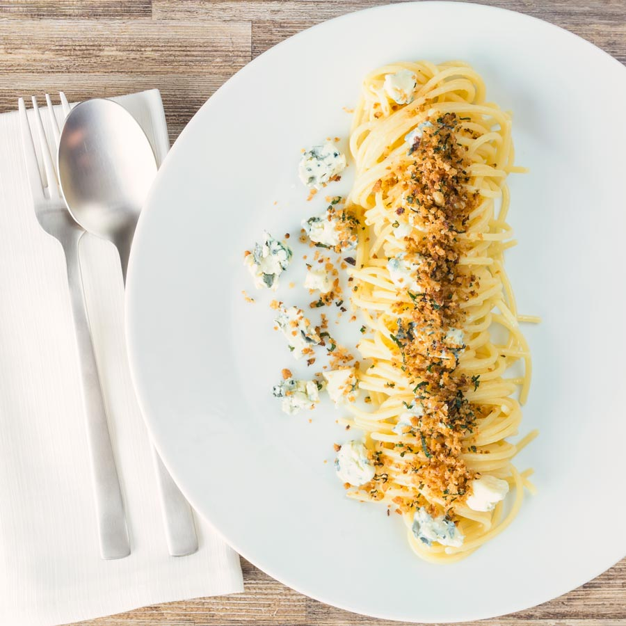 Pasta for the quick win again and this simple garlic spaghetti recipe is pushed over the top with some crispy sage breadcrumbs and Gorgonzola cheese.