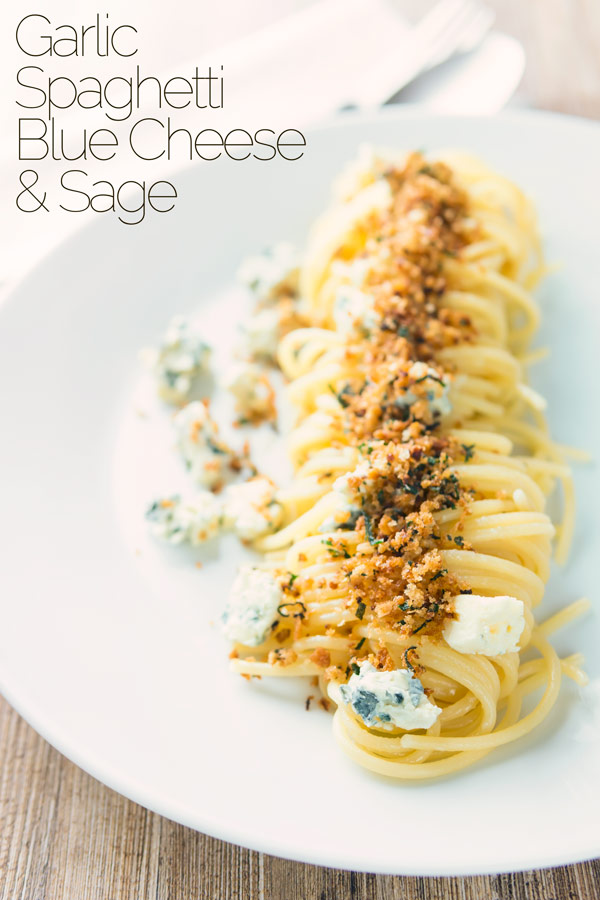 Pasta for the quick win again and this simple garlic spaghetti recipe is pushed over the top with some crispy sage breadcrumbs and crumbled Gorgonzola cheese, when I say quick it's done in 20 minutes and tastes fantastic.  #pastarecipes  #vegetarianpastarecipes  #quickpastarecipes  #easypastarecipes  #simplepastarecipes  #dinnersfortwo #easygarlicpasta