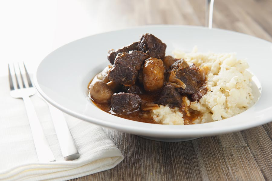 French food is not all picky and fancy, this beef bourguignon or beef burgundy is a French classic featuring a cheaper cut of meat braised in red wine.