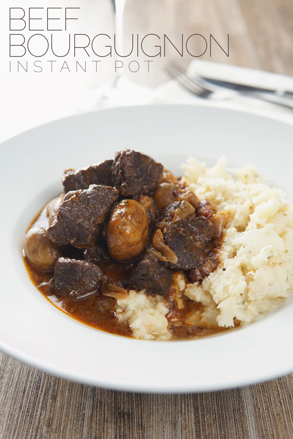 French food is not all picky and fancy, this beef bourguignon or beef burgundy is a French classic featuring a cheaper cut of meat braised in red wine. This stew is ready in an hour thanks to the Instant Pot and is a perfect weeknight dinner. #beefstew #cheapcutsofmeat #beefstew #cheapcutsofmeat #frenchfood #stewfortwo #beefstewfortwo #instantpotbeefstew