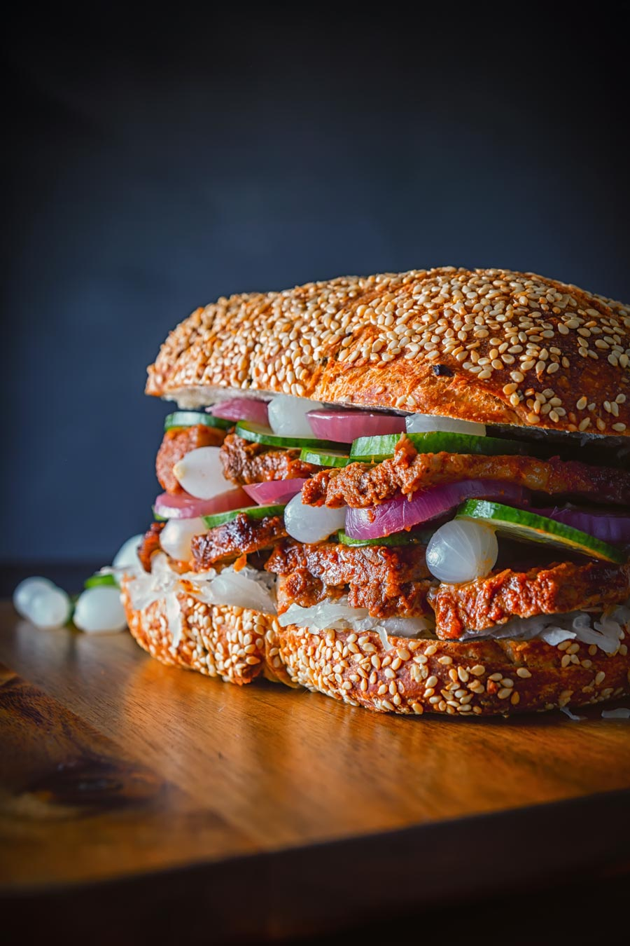 This BBQ Pork Sandwich is cooked in the Instant Pot and then blasted in the oven, the served on a ciabatta style loaf with lots of pickles.