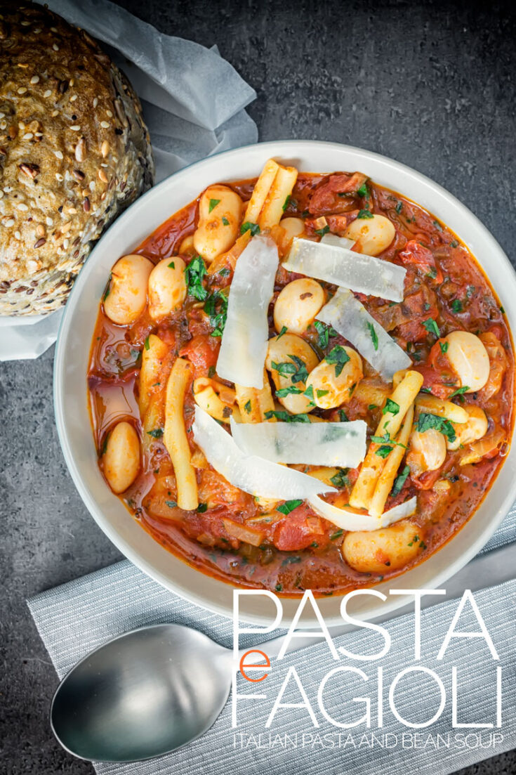 Pasta e Fagioli is an Italian pasta and bean soup or stew. It is a wonderfully hearty meal full of great simple flavours. Using dried beans means it is a frugal dinner you can make anytime from the store cupboard  #heartysouprecipes  #pastarecipes  #frugalfood  #italianrecipes  #pastasoup #vegetarianpastasoup