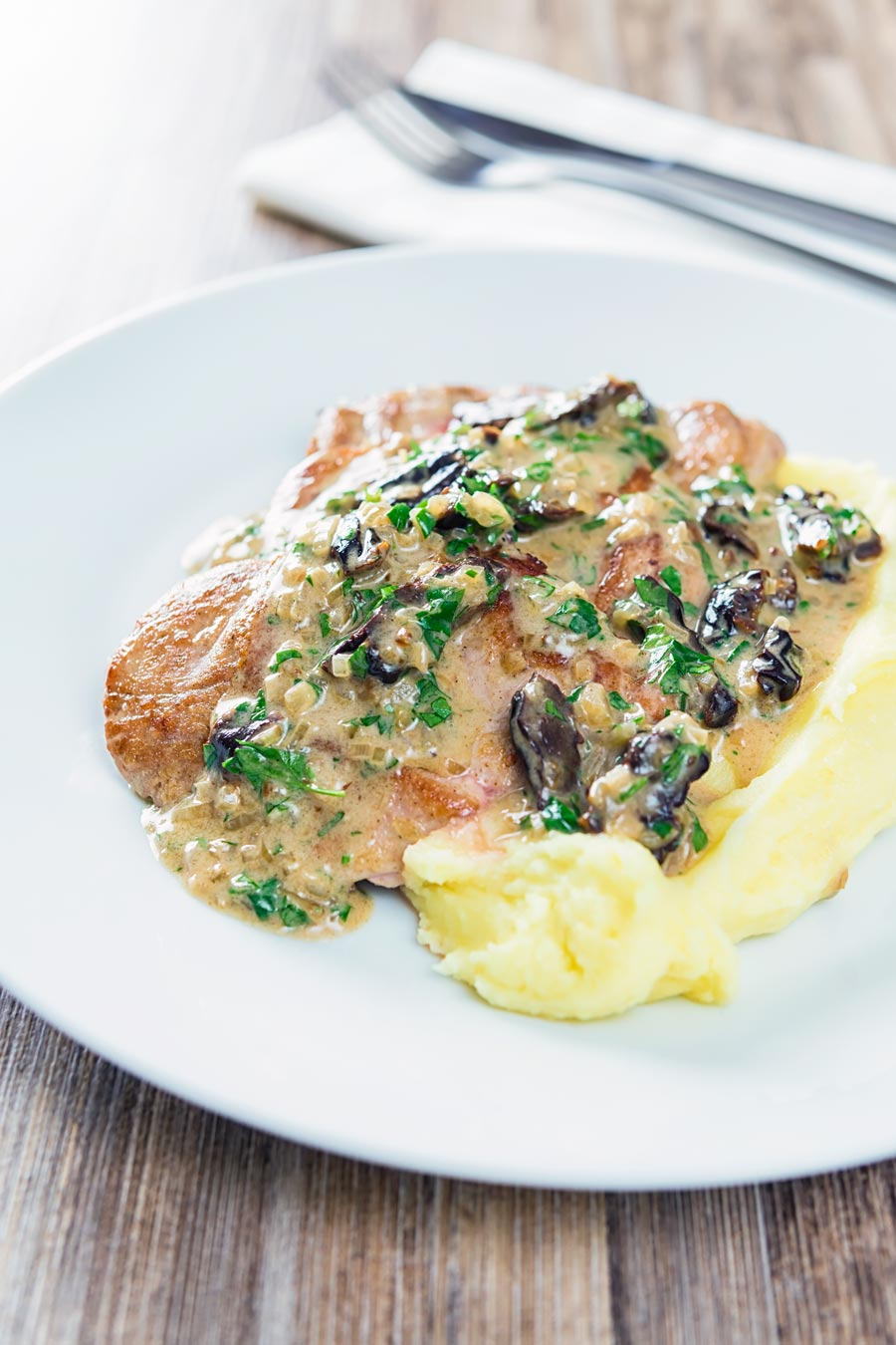 Pork with prunes is a pretty classic combination and here they feature in a brandy cream sauce alongside pork tenderloin and buttery mashed potato.