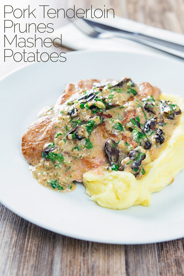 Pork with prunes is a pretty classic combination and here they feature in a brandy cream sauce alongside pork tenderloin and buttery mashed potato. This is a great weeknight dinner and is ready in just 30mins. #porkrecipes #porktenderloinrecipes #dinnersfortwo #datenightrecipes #brandycreamsaucerecipe #weeknightdinner #quickmeals #quickandeasydinnerrecipes