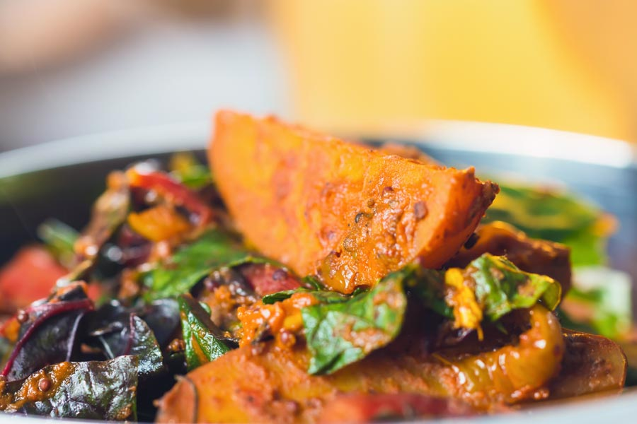Saag Aloo is a long standing favourite curry of mine, the move from spinach to chard adds a depth of iron rich earthy flavour to an already wonderful dish!