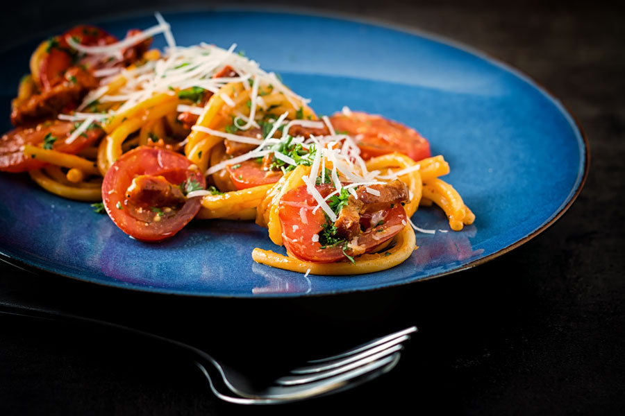 My version of Bucatini All Amatriciana the classic simple pasta recipe from the Lazio region of Italy and is gloriously simple.