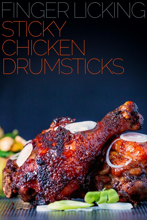 Finger Licking Sticky Chicken Drumsticks coated with a rich and dark glaze heavy with chili, perfect baked in the oven but would work equally well on a BBQ! #chicken #stickyfingers #chickenrecipe #chickendrummers #spicy #recipe #rrecipeideas #recipeoftheday