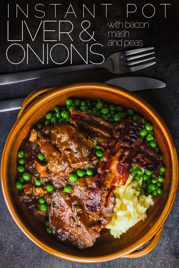 Offal may have fallen out of favour with many but my Liver and Onions recipe is a glorious nod back at the wonder of simple frugal cooking and of course comes bundled with bacon and mash. All ready in less than an hour with the use of a pressure cooker or Instant Pot. #britishfood  #traditionalbritishfood