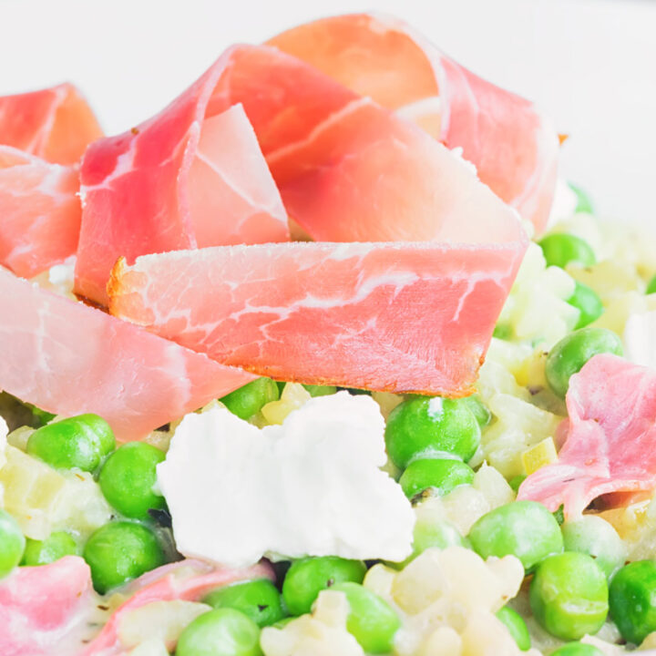 Pea and Ham Risotto with Goats Cheese