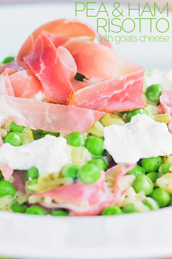 Few flavours work as well together as pea and ham and this pea and ham risotto with goats cheese adds another dimension to that perfect couple! #risotto #italianrisotto