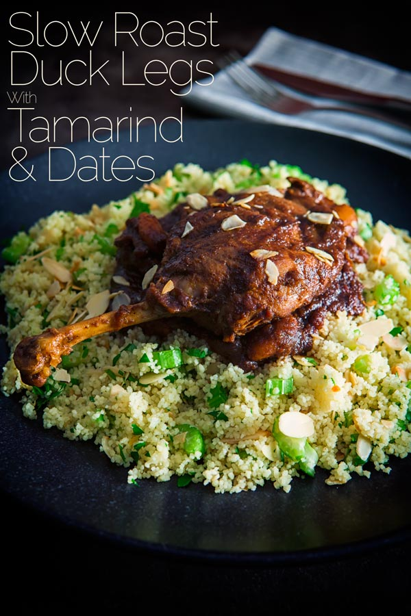This melt in the mouth duck legs recipe is really worth the time to make and comes with a quick couscous side recipe. Cooked in a rich tamarind and date sauce that is boldly flavoured and rocks the whole sweet and sour vibe these slow roast duck legs are sure to become a real favourite. #duck #duckrecipes #tamarindrecipe #northafrican #onepotducklegs #dinnersfortwo