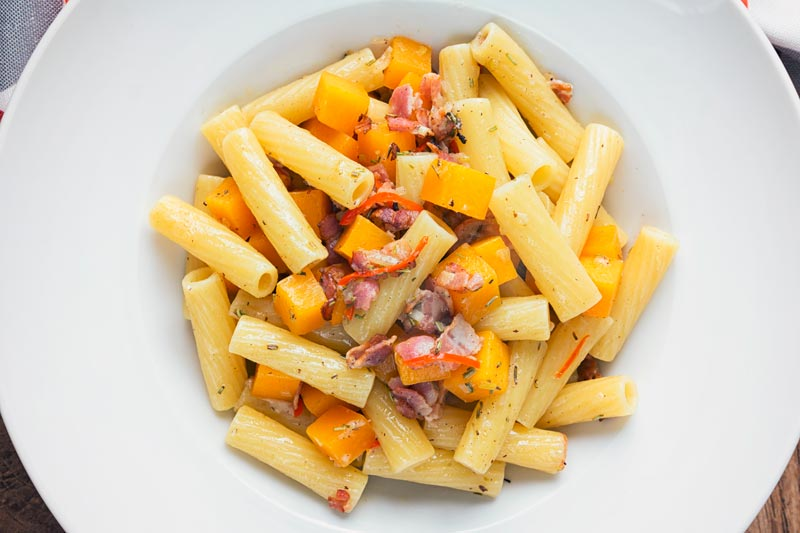 My version of butternut squash pasta rejects a blended sauce in favour of beautiful chunks of squash cooked in wine with rosemary and chili.