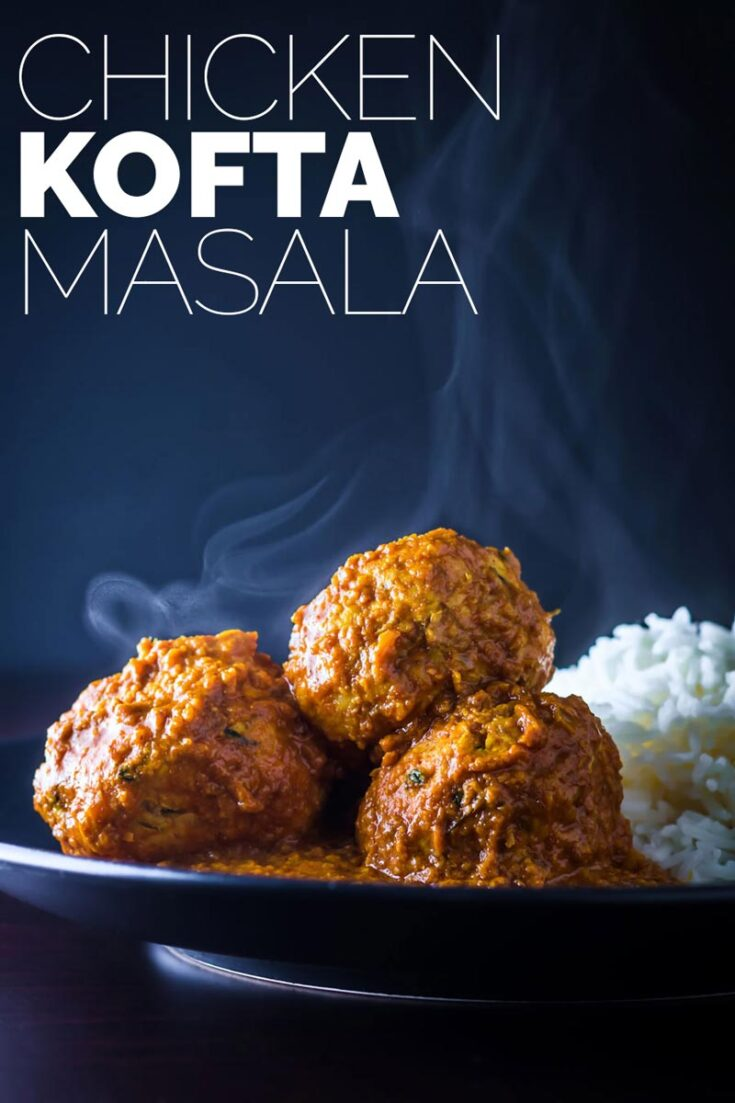 Chicken Kofta Masala, soft Indian chicken meatballs poached in a hot and spicy yet aromatic Indian gravy, fakeaway heaven.  #meatballrecipe #kofta #spicyrecipes #groundchickenrecipes #easycurrymeatballs #spicyrecipes #dinnerfortwo