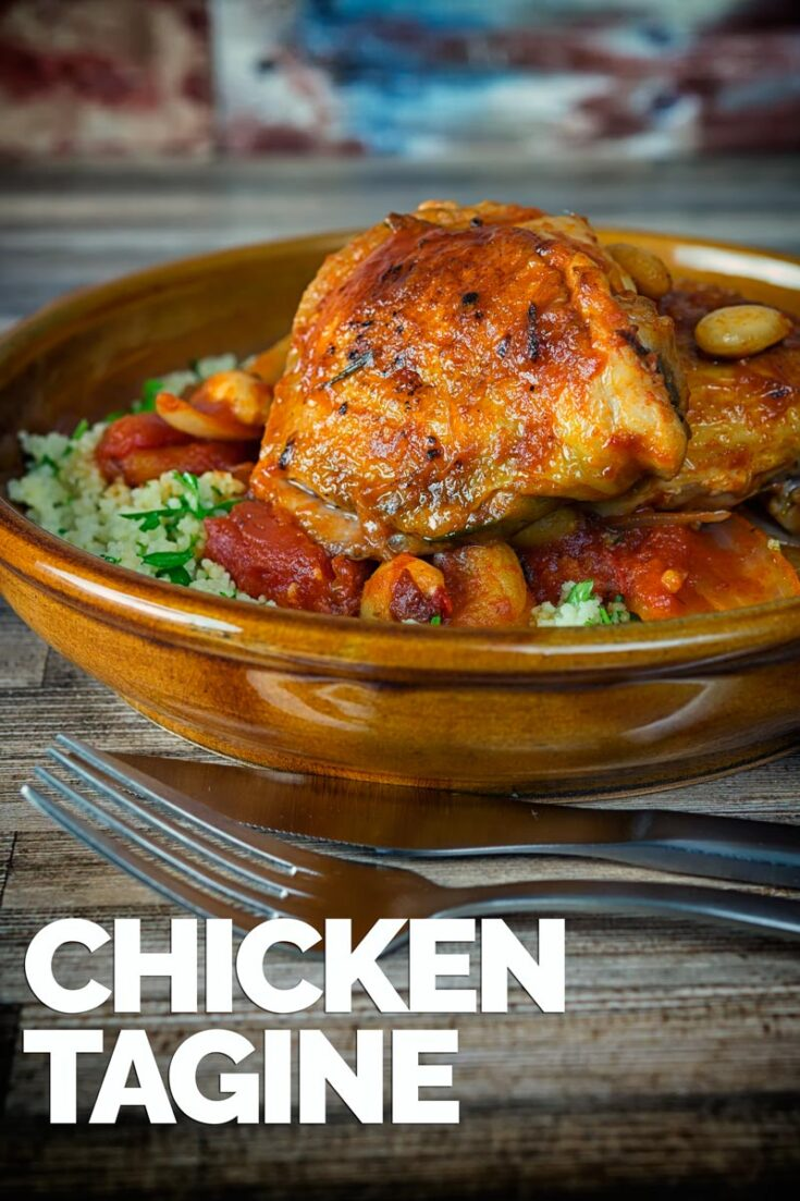 This simple Chicken Tagine recipe makes the most of the great flavour of chicken thighs and features dried apricots, almonds and a host of North African flavours. It is a delicious alternative to a chicken stew! And ready in less than an hour, a super weeknight staple. #chickenstew  #chickentagine  #northafricanfood  #Dinnersfortwo #chickenthighrecipes #morrocanchickentaginecouscous #weeknightmeals