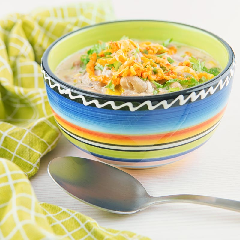 A Square image of a white chili chicken topped with red Leicester cheese in a bright colourful bowl