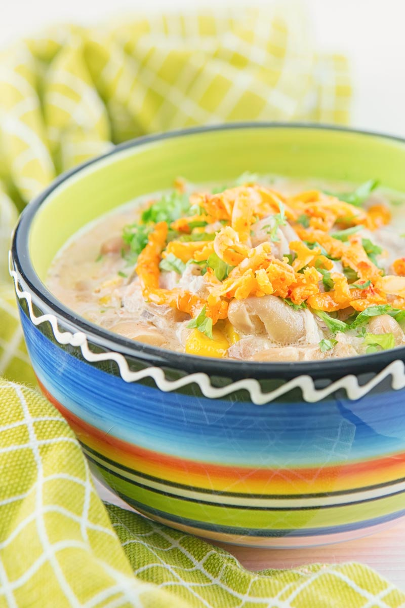 A tall image of a white chili chicken topped with red Leicester cheese in a bright colourful bowl