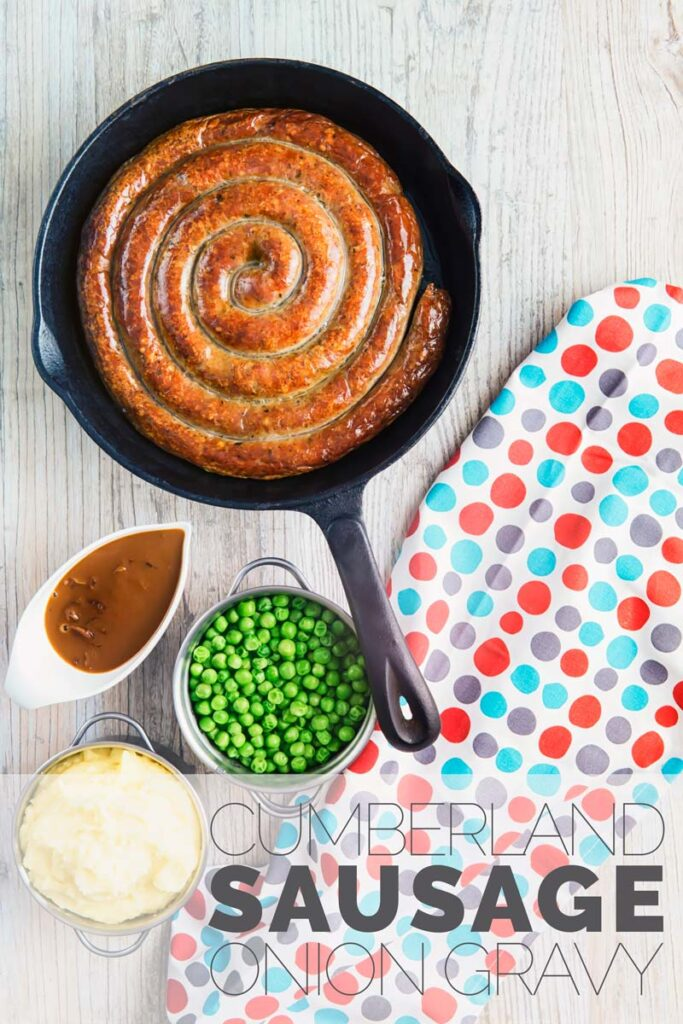 Make this Cumberland Sausage recipe this week! It comes with an easy onion gravy, who doesn't love a great onion gravy recipe it takes less than 2 hours from pork to plate. #CumberlandSausageRecipe #CumberlandSausagePork #BangersandMash #OnionGravyRecipe #OnionGravyEasy