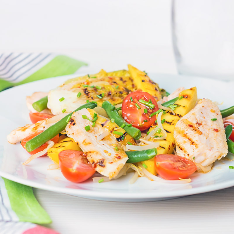 This griddled chicken and mango salad is the epitome of bright and zingy summer flavours but made with ingredients that are available all year round