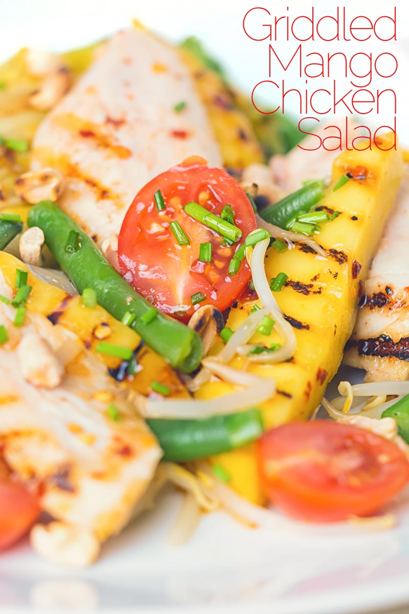 This griddled chicken and mango salad is the epitome of bright and zingy summer flavours but made with ingredients that are available all year round. And as for that spicy sesame oil and fish sauce dressing wow! #Mangorecipes #chickensaladrecipe #spicysaladdressing #chickenbreastrecipe #dinnersfortwo