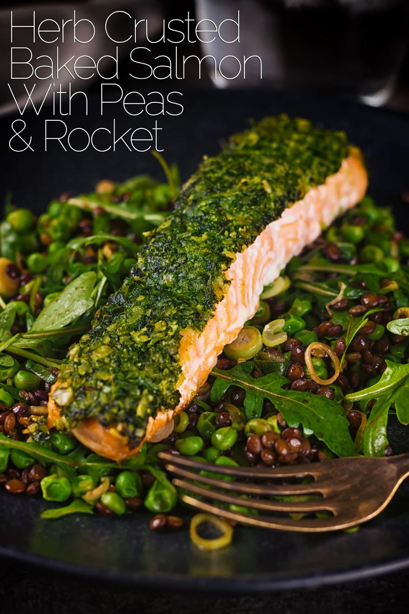 Baked salmon is a beautiful thing and this herb crust salmon is served with a vibrant green warm lentil salad and a simple balsamic dressing. All ready in under an hour this makes a perfect and easy week night dinner. #bakedsalmonrecipes #dinnerfortwo