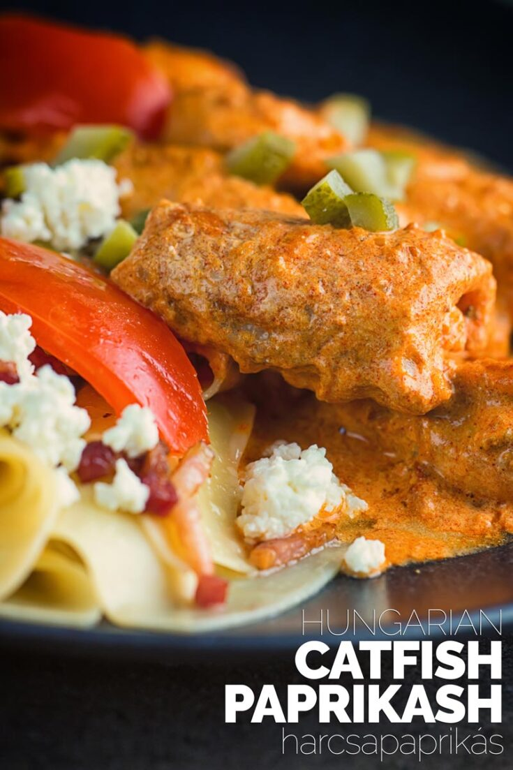 Catfish Paprikash or harcsapaprikás is everywhere in Hungary but it is not as well known as its chicken based cousin elsewhere. It is a wonderfully rich decadent fish dish from Central Europe topped with crunchy cornichons for an extra boost of flavour   #catfishrecipes #paprikarecipes #30minuterecipes #dinnersfortwo #simplepastasidedish