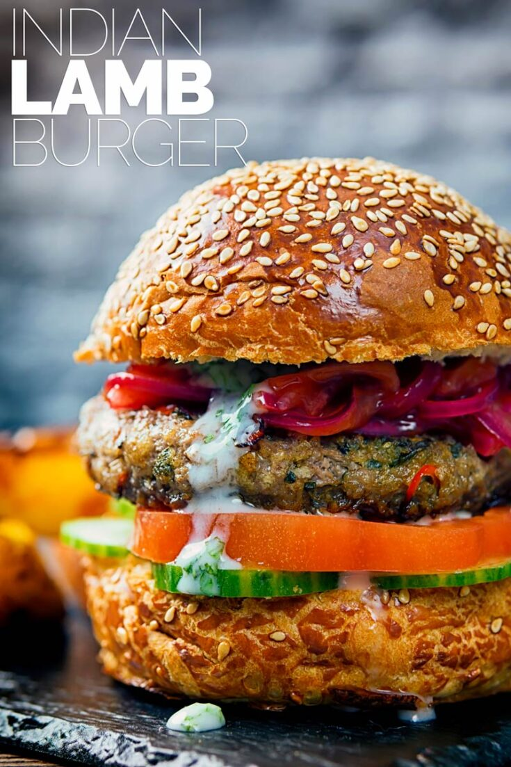 These Lamb Burgers are inspired by Indian flavours, light bright and zingy with hints of fenugreek, cumin and turmeric and elements of a Kachumber salad. #mintedlambburgers #gourmetlambburgers