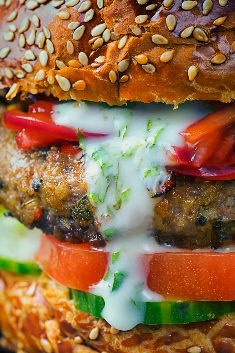 This Lamb Burger is inspired by Indian flavours, light bright and zingy with hints of fenugreek, cumin and turmeric and elements of a Kachumber salad.
