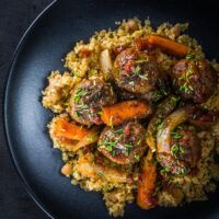 Moroccan Beef Meatballs with Bulgur Wheat and Chickpeas
