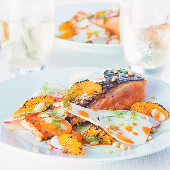 Orange and Harissa Salmon with Fennel