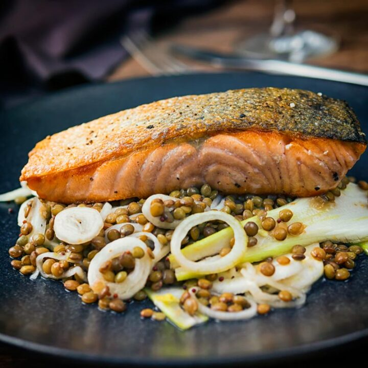 Pan Fried Salmon With Quick Pickled Fennel and Lentils