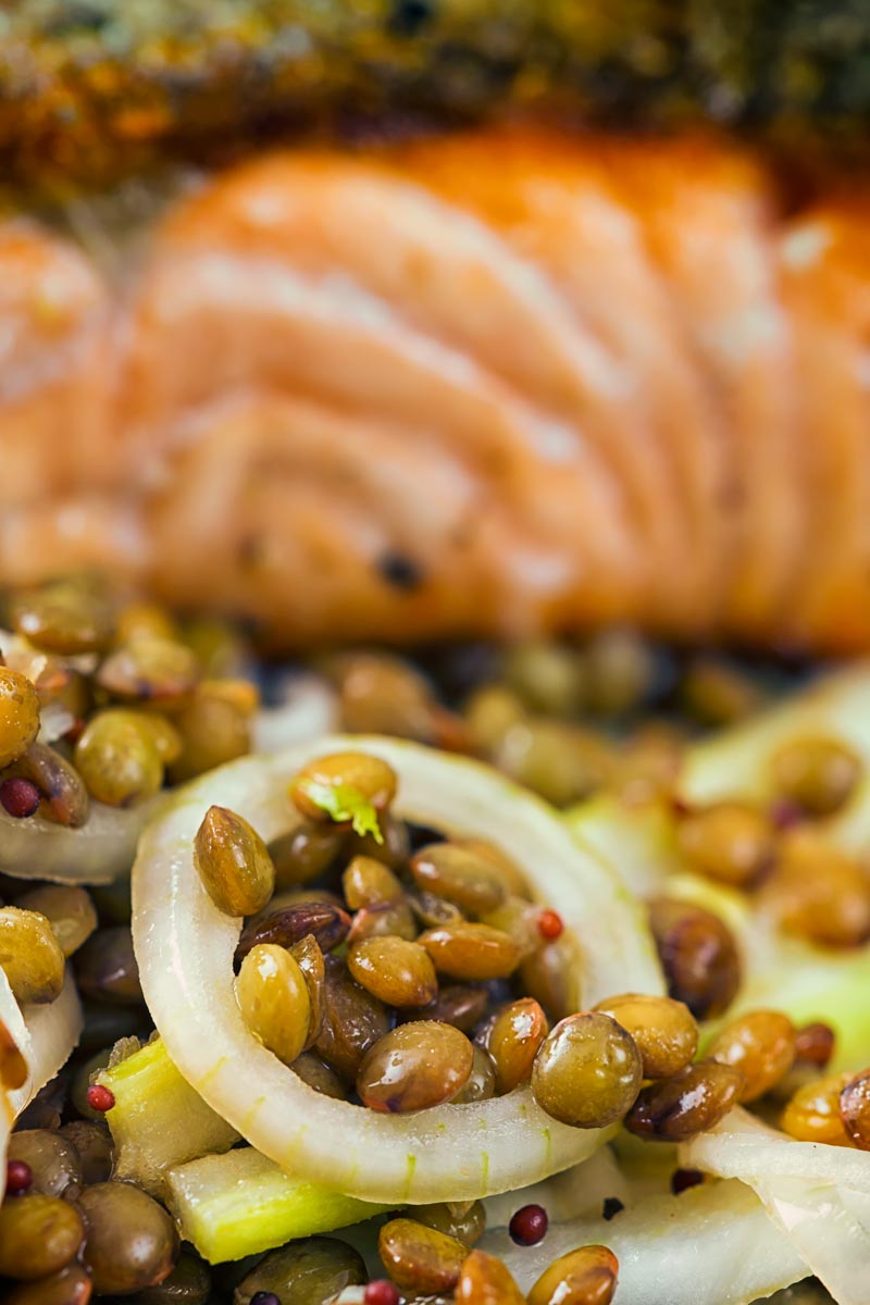 Close up image of lentils with pickled fennel and shallots