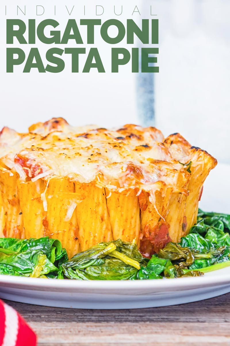 Yes I know it is not really a pie, but hey it is my rigatoni pasta pie... Rigatoni standing to attention with a balsamic tomato sauce, mozzarella and Parmesan and wilted spinach! #pasta #pastapie #pastapiebake #vegetarianpasta #vegetarian #pastapierecipe #rigatonirecipe #rigatonirecipesweeknightdinners