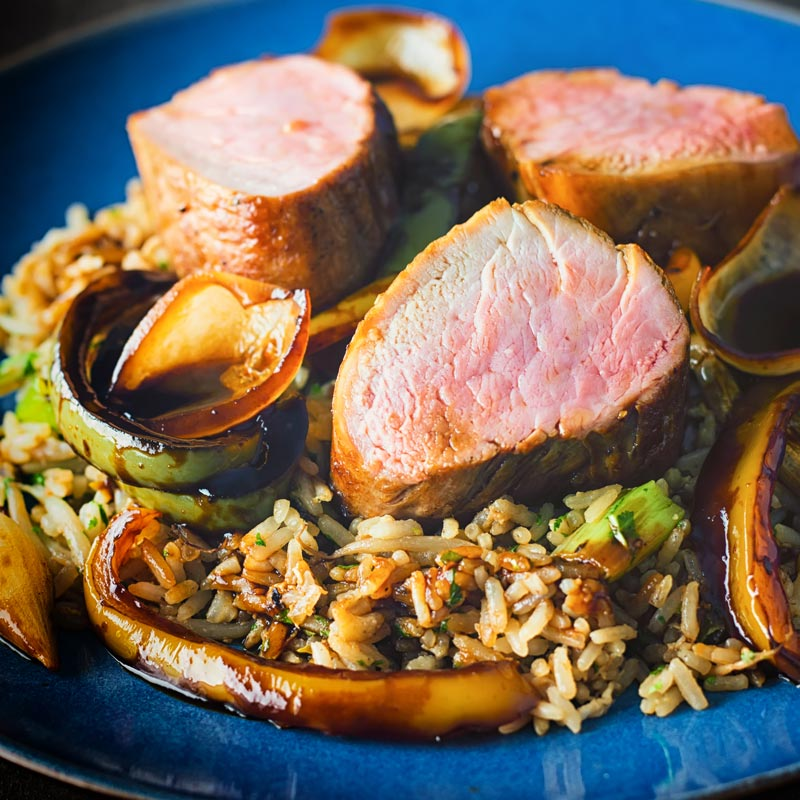 Roast pork tenderloin offers the perfect way to change up what is typically a sweet and sour stir fry dish, the pork is so tender and soft and needs just 15 minutes in the oven!