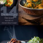 Collage of three different chicken curry recipes with text in Landscape
