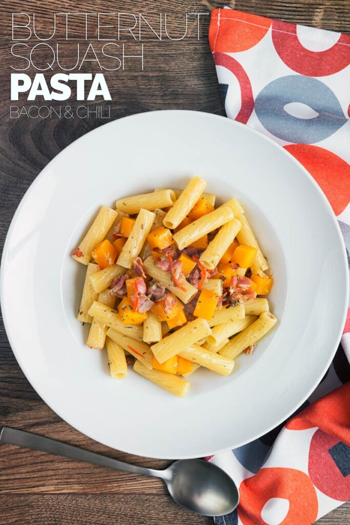 My version of butternut squash pasta rejects a blended sauce in favour of beautiful chunks of squash cooked in wine with rosemary, bacon and chili. #easyweekinghtdinner #easypastarecipes