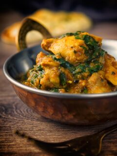 A chicken saag or saagwala is a popular dish on the British Indian Curry restaurant menu, simple and medium spiced this has your spinach requirement covered!