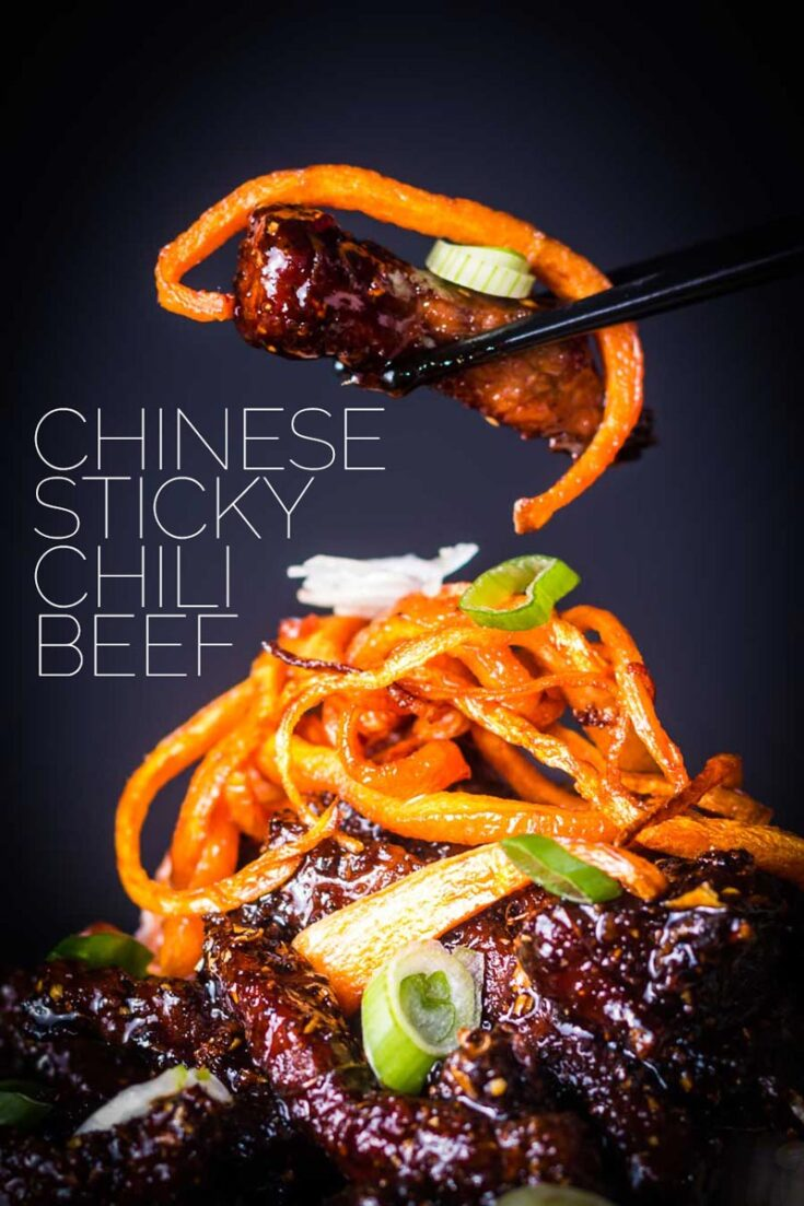 Sticky Chilli Beef is my idea of an indulgent treat, sure it is not the most 'health conscious' meal but boy does it taste fantastic! Ready in 30 minutes this dish will hit the spot with its spicy and sweet sticky sauce. #chinesebeefrecipes #spicybeef