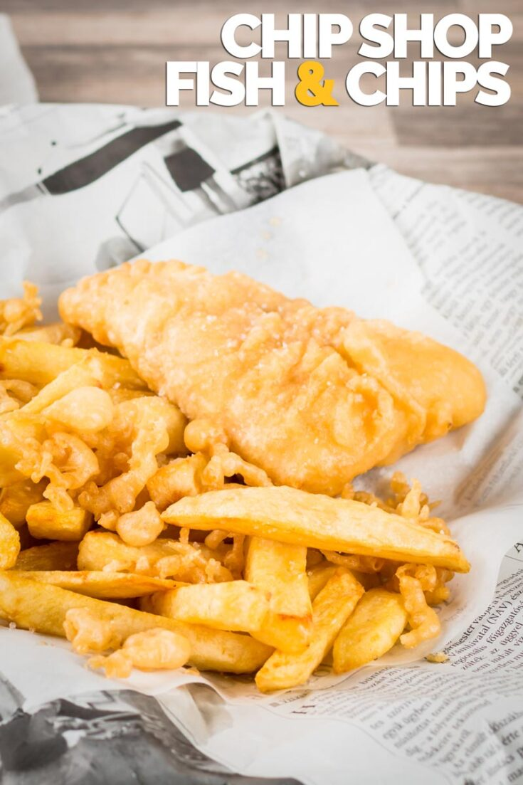 Proper Chip Shop fish and chips are a thing of great beauty and possibly the most evocative memory of growing up in the UK. Served with a dollop of tomato sauce it's a perfect naughty weeknight meal! #Englishfishandchips #beerbatteredfish #fish&chips
