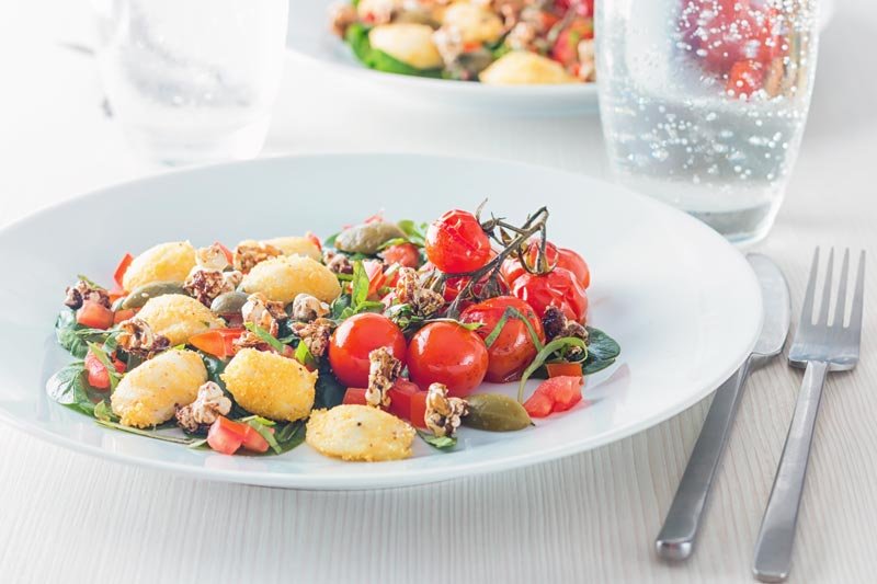 The classic flavours of a Caprese salad get all adventurous in this recipe to add a bit of body and substance to what is usually a light lunch dish or starter.
