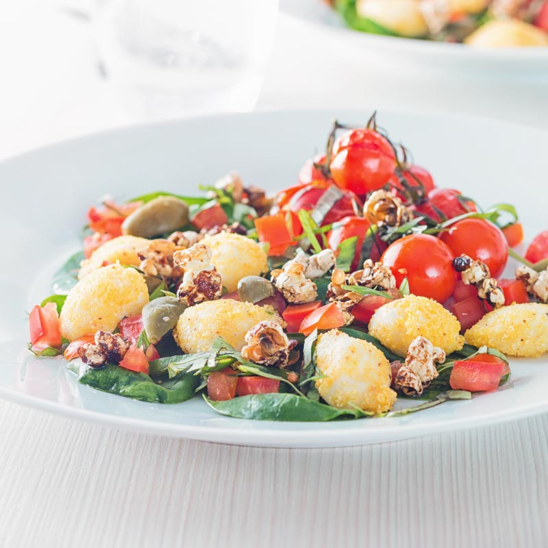 Square image of an unusual take on the flavours of a classic caprese salad.