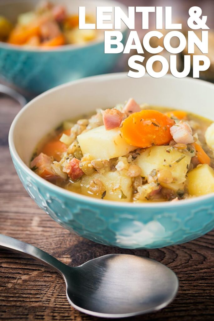 The simple and basic ingredients in this lentil and bacon soup combine to create an insanely tasty and simple soup that is both warming and filling! #lentilsouprecipe #easysouprecipe