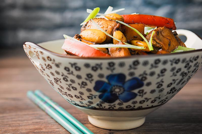 This mango chicken stir fry is a mish mash of South East Asian and Chinese influences, it is sweet and sour and on your table in just 25 minutes!