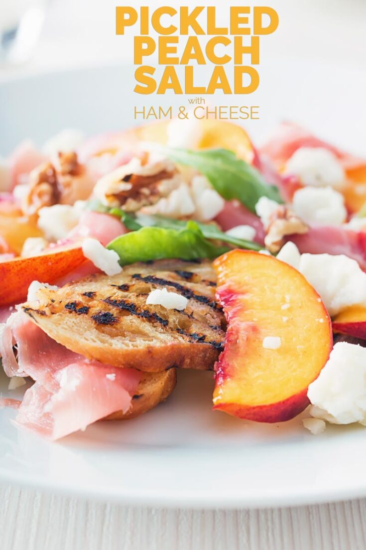 Ham, cheese and pickles make for a classic salad and this ham and cheese salad is joined by pickled peaches and walnuts for a delicious and innovative light treat! #hamsaladrecipe #summersaladrecipe