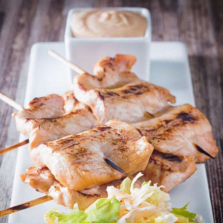 Pork Satay with a Peanut Dipping Sauce is a wonderfully simple and quick snack that can be prepared in advance with a really versatile sauce.