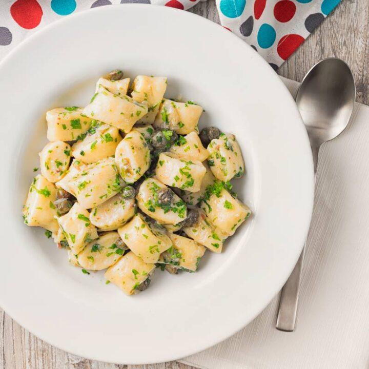 Ricotta Cheese Gnocchi in a Caper Butter Sauce