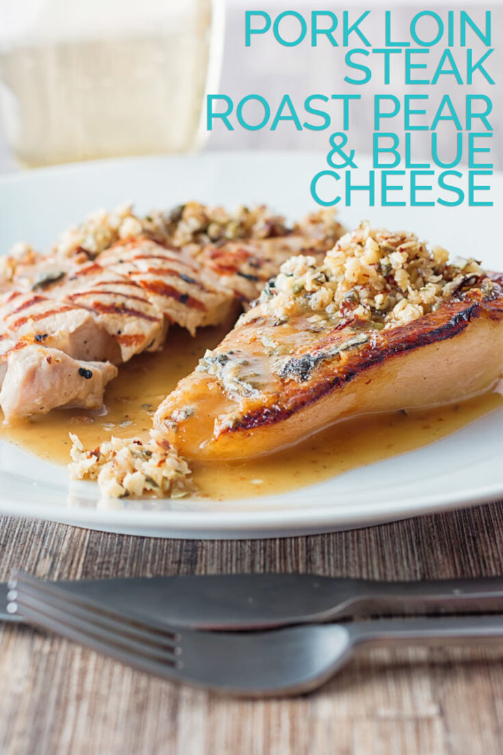 Classic flavours are at the forefront in this pork loin recipe with roasted pears and blue cheese and it is all held together with a cider sauce. #classicporkrecipes #porkandpearsrecipe