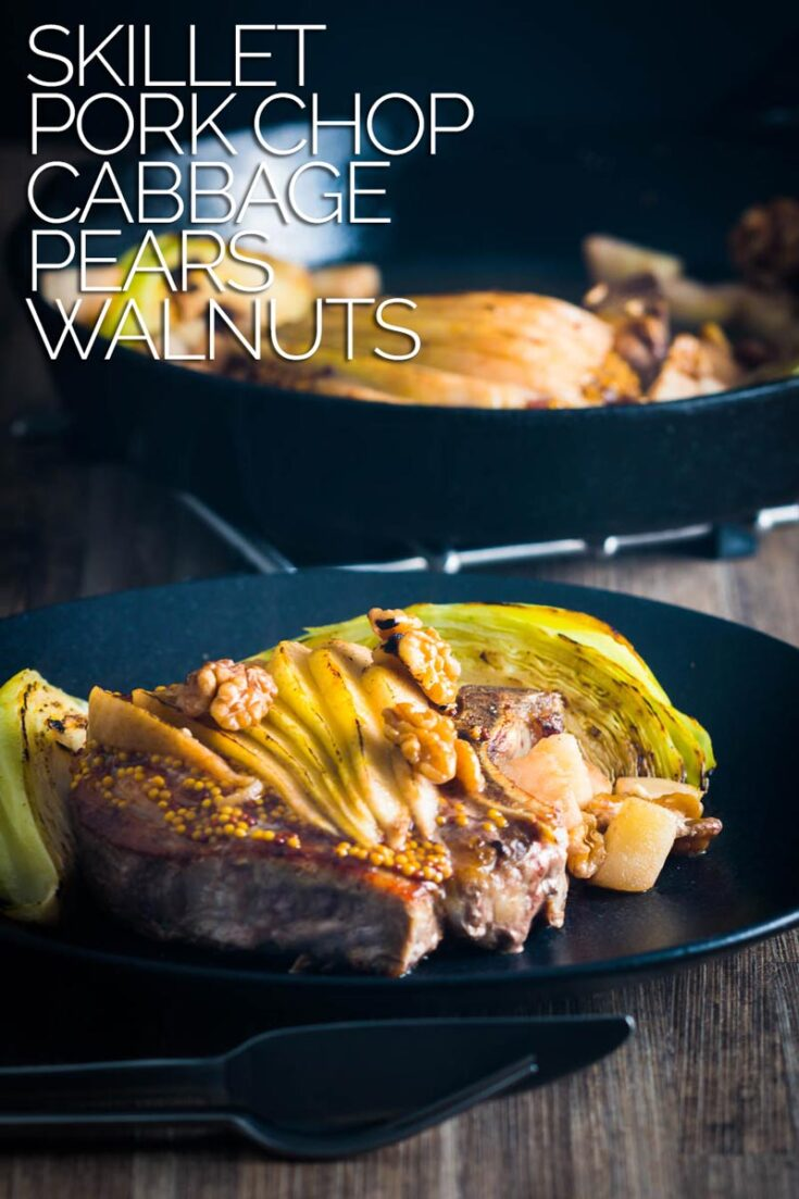 Skillet Pork Chops with Cabbage, Pear and Walnuts is a simple one pot wonder packed full of Autumnal flavours and textures and next to no washing up! #boneinporkchoprecipes #bakedporkchops