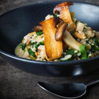 Walnut, Mushroom and Spinach Risotto