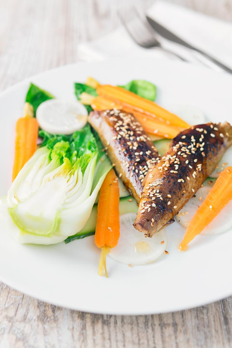 An Asian influenced smoked mackerel salad with bok choi, pickled carrots, cucumber and radish